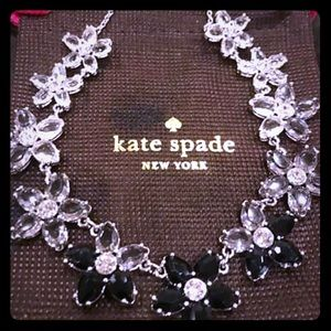 NWT Kate Spade 12kt gp flower crystal necklace